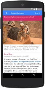 Noticia vista desde el dispositivo mobile en AMP