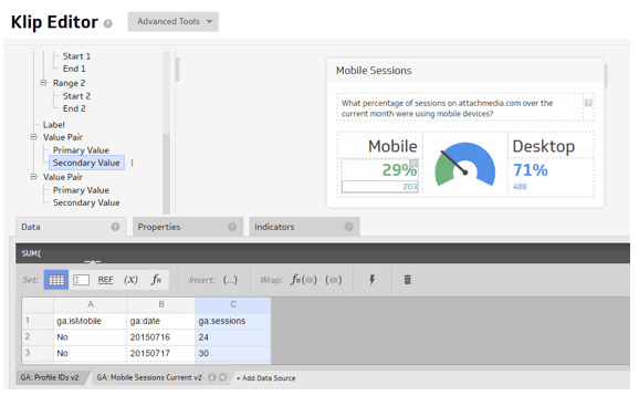 Klipfolio dashboard editor Ms Excel