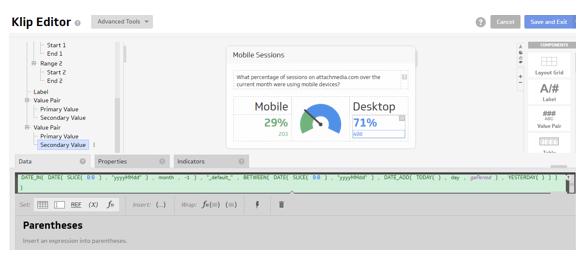 Klipfolio editor Google Analitics