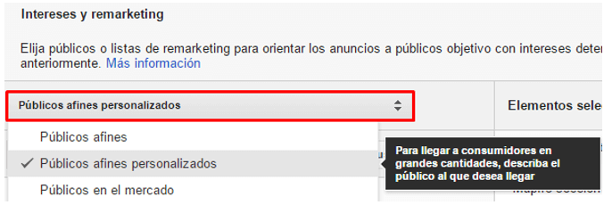 intereses y remarketing
