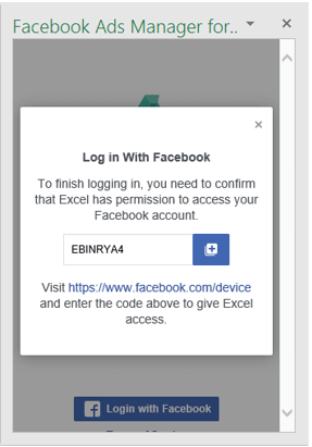 Facebok ads manager for excel movil