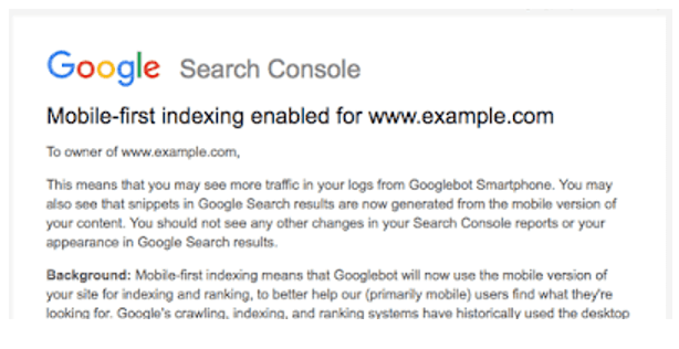 Mobile first indexing enabled for www.example.com
