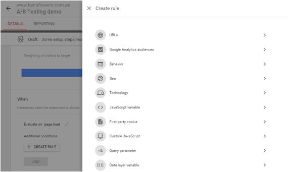 realizando un testing con Google Optimize 3.1