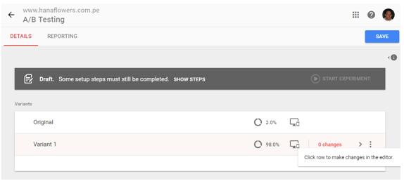 realizando un testing con Google Optimize 3.2