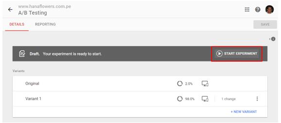 realizando un testing con Google Optimize 3.5