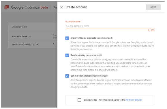 Instalación de Google Optimize paso 2