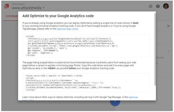 Instalación de Google Optimize paso 5.2