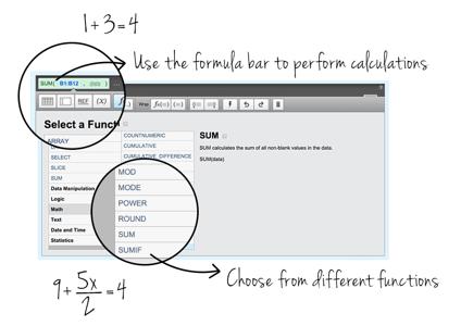 Klipfolio business dashboard software math functions