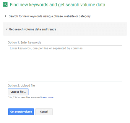 Obtener el volumen de búsquedas de keywords