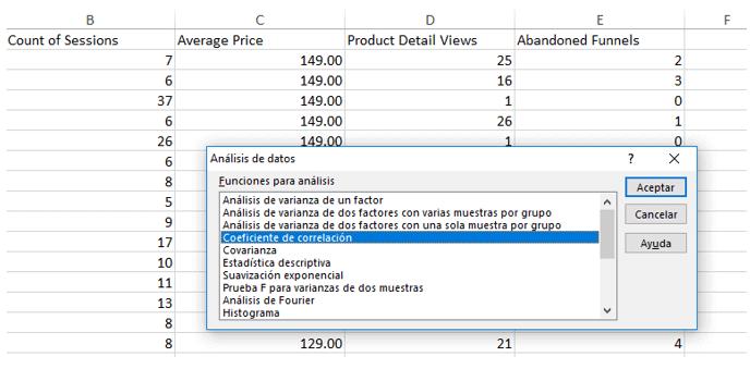 Coeficiente de correlación - Excel