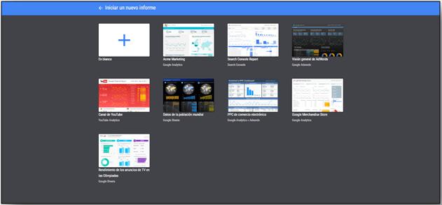 Iniciar informe en Data Studio